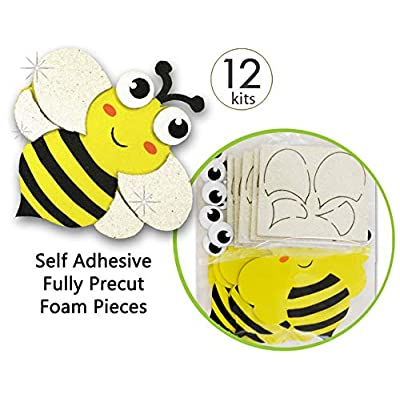 Bee Stickers Preschool Craft Kits Toddler Crafts Bumble Bee Decorations Arts and Crafts Kits Preschool Crafts Toddler Craft Kit Fake Bees Foam Crafts for Kids Foam Stickers for Kids Art Crafts 12 Pk: Arts, Crafts & Sewing