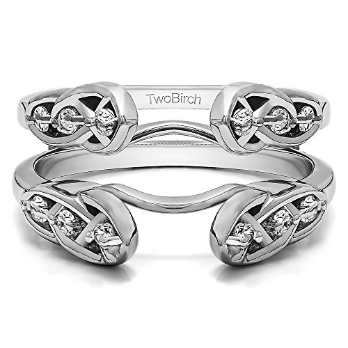 TwoBirch 0.22 ct. Charles Colvard Created Moissanite Infinity Celtic Ring Guard Enhancer in Sterling Silver (1/5 ct. twt.) (Size 3 to 15 in 1/4 Size Intervals) (Asscher Vs2 Ring)