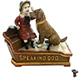 Global Art World J. E. Stevens Company 1897 Re-Creation Heavy Quality Antique Style Cast Iron Mechanical Vintage Speaking Dog Money Box Bank MB 04