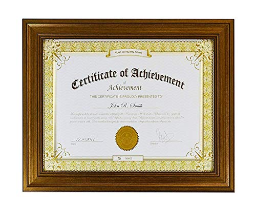 assic Photo Frame to Display Certificates 8.5x11 inch, Dark Gold Color with Real Glass ()