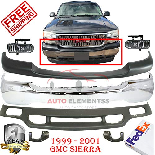 Front Bumper Kit For 2000-2006 GMC Yukon 1999-2002 Sierra 1500 Lower Valance Fog Lamp Left Hand Side & Right Hand Side Direct Replacement Set of 5 GM2592110 GM2593110 GM1092169 GM1051104 GM1002373