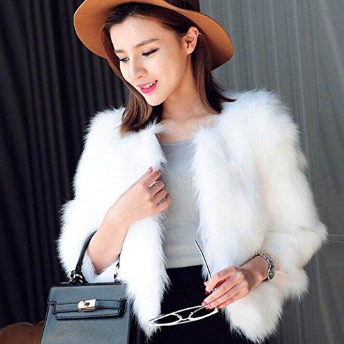Abrigo Abrigo Piel para Blanco Mujer Suave Esponjosa Piel Suave Xmax de de de Avestruz y KaloryWee Sintética Od6faqEppw