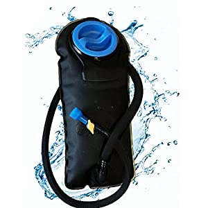 Outfitter Warehouse Hydration Water Bladder with a Soft Bite Mouth Piece and Insulated Tube - On-Off Valve Switch for Backpacks - 2 Liter (2L)