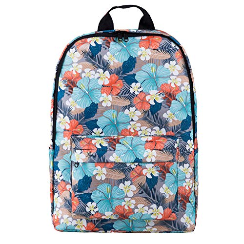 Floral Backpack for Women College Bookbags for Teen Water-Resistant Laptop Daypack(BlueFlower) ()