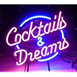 COCKTAILS AND DREAMS Real Glass Neon Light Sign Home Beer Bar Pub Recreation Room Game Lights Windows Garage Wall Signs