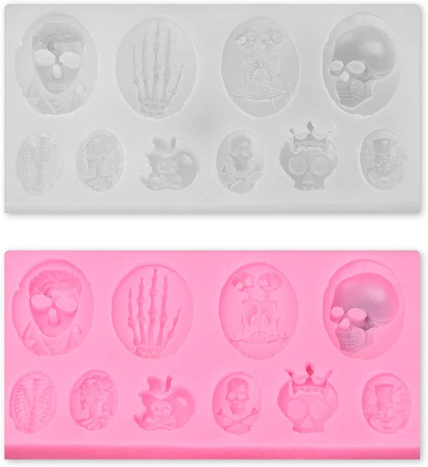 2PCS Funny Halloween Skulls Hand Fondant Mold, DIY Silicone Molds, for Candy, Chocolate, Cupcake Topper, Epoxy Resin Casting Keychain, Clay Festival Supplies