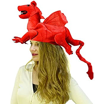 Dragon Hat - Dragon Costume - Novelty Hats - Red Dragon Hat by Funny Party  Hats a6b256980a32