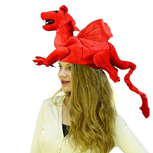 Dragon Hat - Dragon Costume - Novelty Hats - Red Dragon Hat by Funny Party Hats -