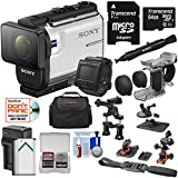 Sony Action Cam HDR-AS300R Wi-Fi HD Video Camera Camcorder & Remote + Finger Grip + Suction Cup + Helmet Mount + 64GB Card + Battery & Charger + Case Kit