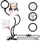 Neewer Clamp-on LED Selfie Ring Light with Holder and 3-in 1 Cleaning Kit for Live Stream,3-Level Brightness,360 Degree Rotating Flexible Long Arms Gooseneck Mount for YouTube,Facebook,iPhone,Samsung