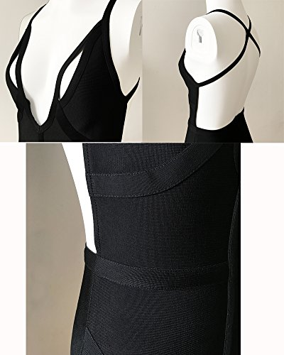 Neck Whoinshop Strappy Deep Bandage Balck Backless V s Women Dress Rayon Party xaOZq