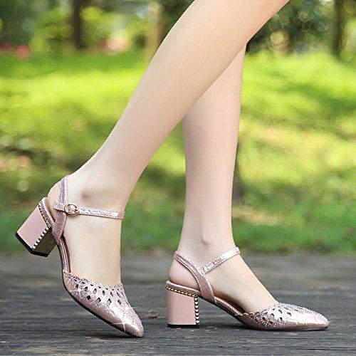confortevoli estate sandali tacco quadrato YMFIE Ladies B scarpe singole temperamento sexy temperato 6qv7RI7xw