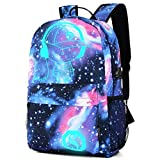 Backpack Students Galaxy Color Canvas Shoulder Bag School Bag Travel Tote Backpack Satchel (30cm, Blue)
