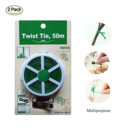 Twist Tie Spool Roll with Cutter for Plant Multipurpose Green PVC Twist Tie Line 50m/164FT 2 Packs