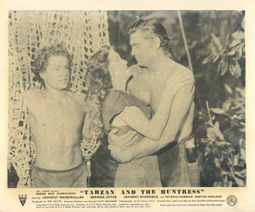 TARZAN AND THE HUNTRESS JOHNNY WEISSMULLER LOBBY CARD from Silverscreen
