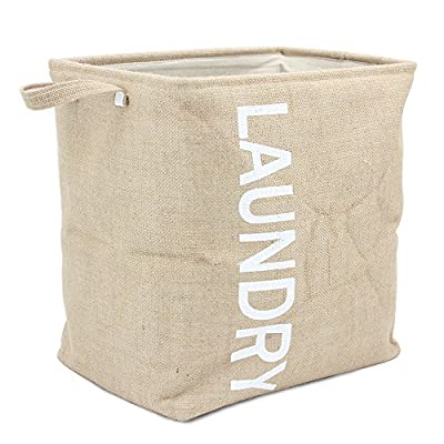 Thicken Jute Laundry Basket Hamper with Handles, Dirty Clothes Sorter, Collapsible Laundry Container, Heavy Duty and Durable Storage Basket, 14.6 x 10 x 15.7 inch - Pure natural Jute fabric, tough 100% Cotton liner. Built-in high elastic steel wire supporting and shaping, easy to fold into a compact spacious size when not in use. Folds down flat when not in use, makes it very easy to use and storage, Perfect for college dorms, apartments, hotel stay, baby nurseries, utility room, college dorm room accessories. Multi-use for storing closet, books, towels, children's toys, dirty laundry clothes, shoes, homeware stuff, etc. Even for many heavy things storage, such as firewoods, fruits, toys, tools, Grasses, heavy accessories etc. - laundry-room, hampers-baskets, entryway-laundry-room - 516zYdrj73L. SS400  -