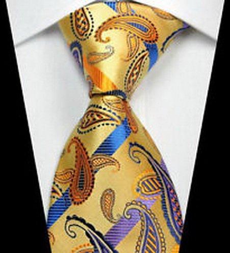 jacob alex #41281 Yellow Purple Paisley Man Classic JACQUARD Woven Necktie Tie Formal