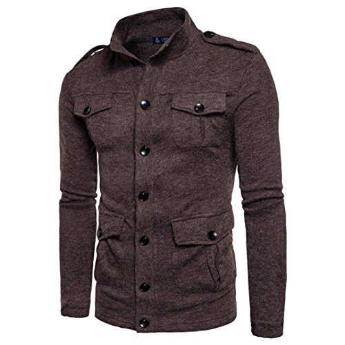 Forthery Men's Active Lightweight Slim Button Bomber Jacket Coat (Tag L= US M, Coffee)