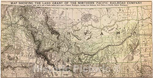 (Historic 1890 Map | Map Showing The Land Grant of The Northern Pacific Railroad Company in Montana, Idaho, and in Part of North Dakota, and in Part of Eastern Washington 47in x 24in)