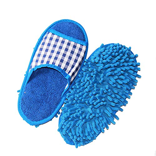 - Hot Sale!DEESEE(TM)Mop Slippers Lazy Floor Foot Socks Shoes Quick Polishing Cleaning Dust (Blue)