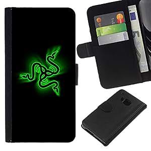 All Phone Most Case / Oferta Especial Cáscara Funda de cuero Monedero Cubierta de proteccion Caso / Wallet Case for HTC One M9 // Green Snakes