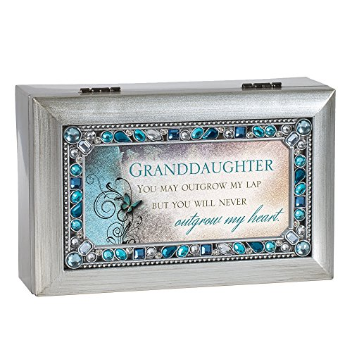 Cottage Garden Granddaughter Jeweled Silver Finish Jewelry Music Box - Plays Tune You are My Sunshine ()