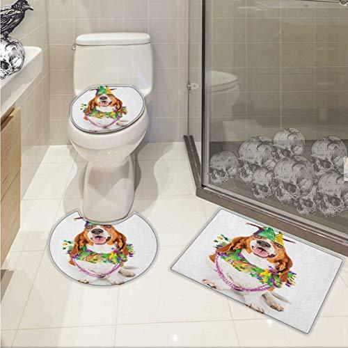 Mardi Gras 3 Piece Toilet Cover Set Happy Smiling Basset Hound Dog Wearing a Jester Hat Neck Garland Bead Necklace Pattern Rug Set Multicolor
