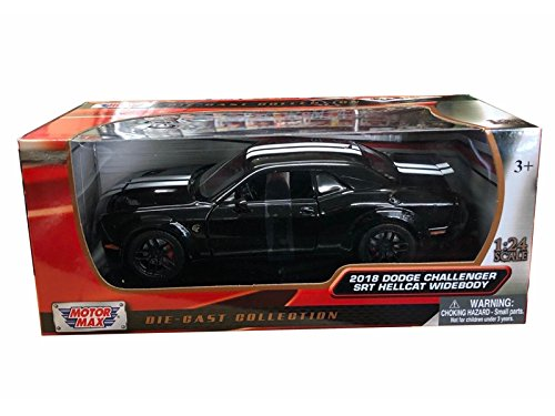 (2018 Dodge Challenger SRT Hellcat Widebody Black with Silver Stripes 1/24 Diecast Model Car by Motormax 79350)