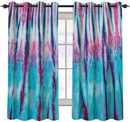 Tie Dye Decor 2 pcs 52×36 Blackout Drapes,Close Up Vertical Gradient Tie Dye Figures Hippie Alter Life Retro Artwork Grommet Top Window Treatment Blackout Panel Curtain for Small Window,Blue Pink