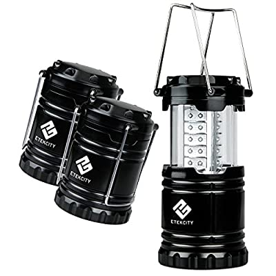 Etekcity 3 Pack Portable Outdoor LED Camping Lantern with 9 AA Batteries (Black, Collapsible) by Etekcity