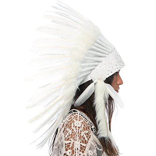 Shaman Halloween Costume (Feather Headdress- Native American Indian Inspired- Handmade Halloween Costume for Men Women with Real Feathers - All White Duck)