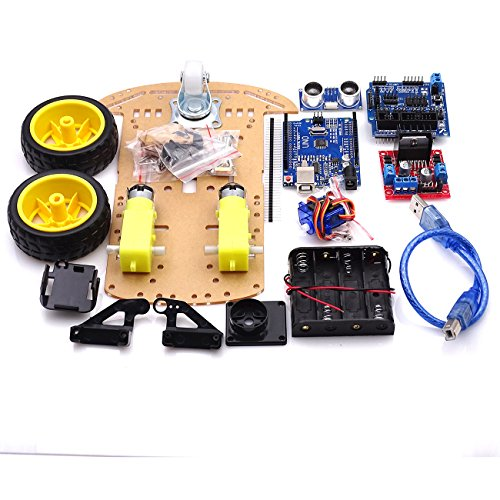 Mustwell 10 Sets New Avoidance Tracking Motor Smart Robot Car Chassis Kit Speed Encoder Battery Box 2WD Ultrasonic Module for Arduin kit ()