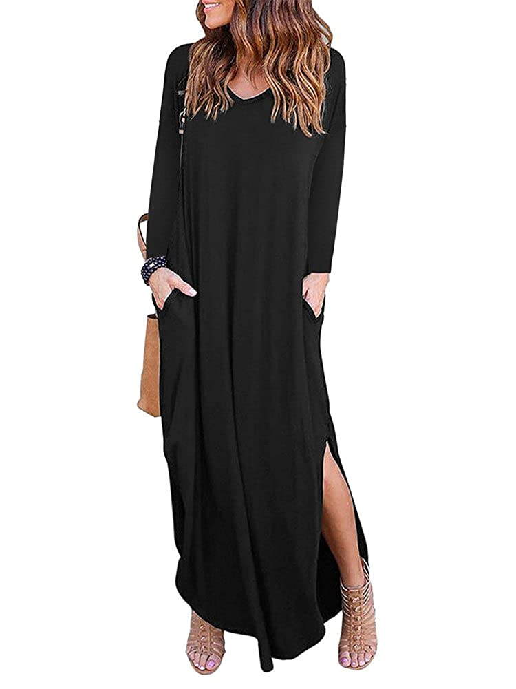 Black Allumk Women's V Neck Long Sleeve Casual Loose Side Split Maxi Dresses with Pockets
