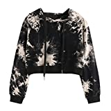 Hooded Crop Tops,ZYooh Women Long Sleeve Sexy Printed Drawstring Sweatshirt Bare Midriff Blouse (L, black)