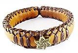 D'SHARK Handmade Biker Leather Bangle Bracelet Cuff Wristband for Unisex (Brown)