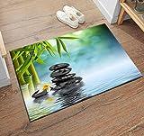 LB Spa Rug Zen Garden Theme Basalt Stones and Bamboo in Water Art...