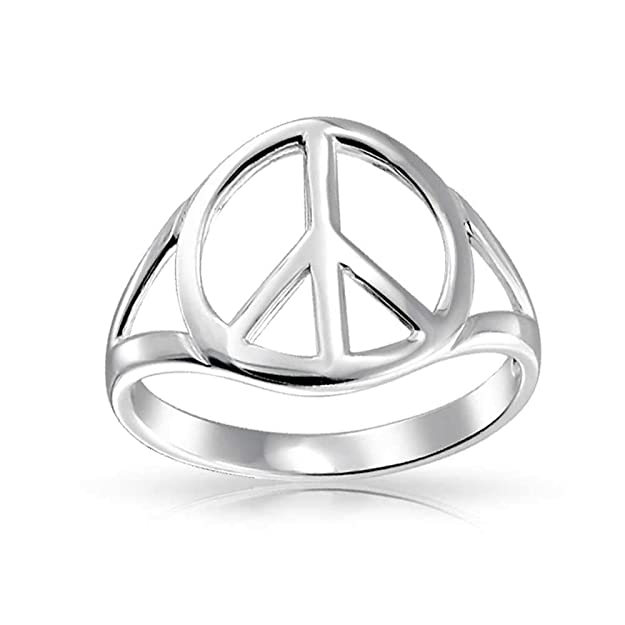 Peace Sign Open Symbol Sterling Silver Ringamazon