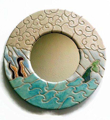 Mosaic Mirror - Wall Art - Nautical - Child's Bathroom - Child's Nursery - Mosaic Tile Art - Ocean Waves with Octopus and Mermaid