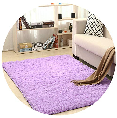Super Soft Silk Wool Rug Indoor Modern Shag Area Rug Silky Rugs Bedroom Floor Mat Baby Nursery Rug Children Carpet,Lilac,50X80cm