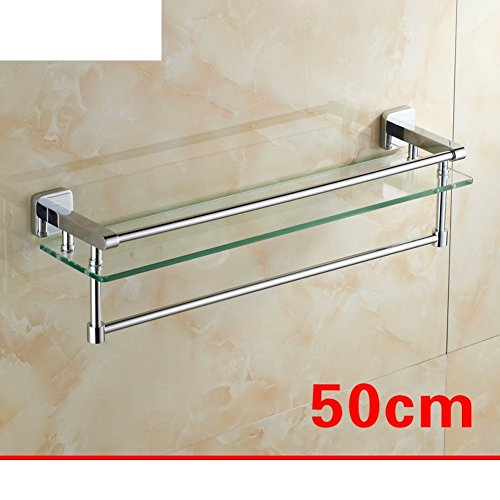 DIDIDD Shelf-Bathroom Glass Shelves/Single Cosmetics Planes/Copper Bathroom Mirror Shelf with Towel Bar-B by DIDIDD