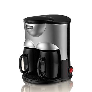Ayy Máquina de café de Oficina Goteo máquina de té automática Mini Doble Taza de café de la máquina casera, Negro: Amazon.es: Hogar