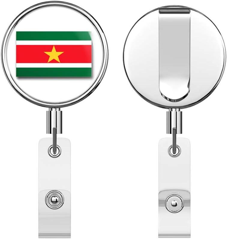 Suriname Flag Round ID Badge Key Card Tag Holder Badge Retractable Reel Badge Holder with Belt Clip