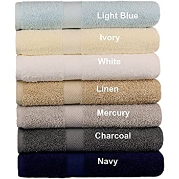 Cotton Craft - 7 Pack Multi Color Bath Towels - 100% Ringspun Cotton - 27x52 – Light Weight 450 Grams – Quick Drying and Highly Absorbent - Colors - Ivory, Light Blue, White, Linen, Mercury, Charcoal,