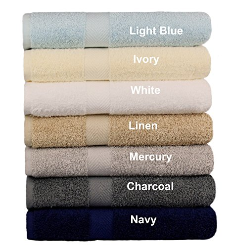 Cotton Craft – 7 Pack Multi Color Bath Towels – 100% Ringspun Cotton – 27×52 – Light Weight 450 Grams – Quick Drying and Highly Absorbent – Colors – Ivory, Light Blue, White, Linen, Mercury, Charcoal,