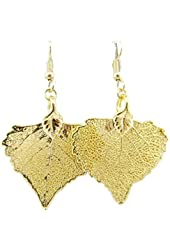 Gold-Plated Cottonwood Leaf Earrings