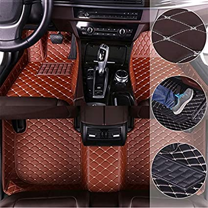 Car Floor Mats for Acura MDX 2014-2017 Custom Leather mat Full Surrounded Cargo Liner All Weather Protection Waterpoof Non-Slip Set Left Drive Black