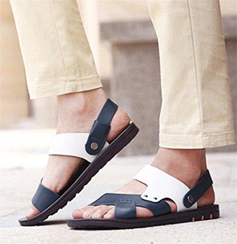 Sandale Insun Strap Blau On Herren Slip Weiß Leder wCFXq