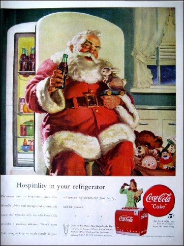 Coca Cola Color Advertisement - 1947 Original Coca Cola Color Ad Santa Claus in Front of Refrigerator