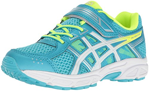 Price comparison product image ASICS Girls' Pre-Contend 4 PS Running Shoe, Aquarium/White/Safety Yellow, 12 M US Little Kid