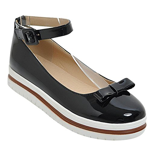 Pump Ankle Charm Womens Black Strap Platform Bows Foot Shoes Comfort wa0ZHa